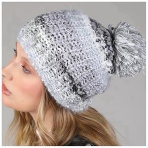 Grey soft knit pom beanie